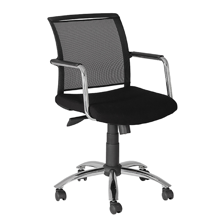 Office chair with mesh back on wheels