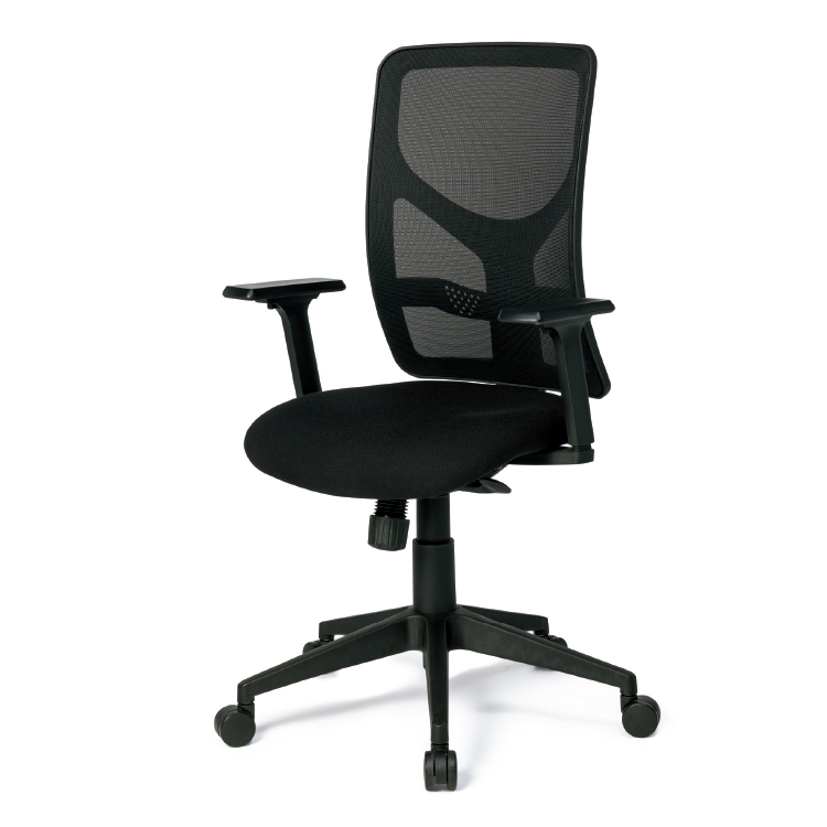 Black office chair with high mesh back