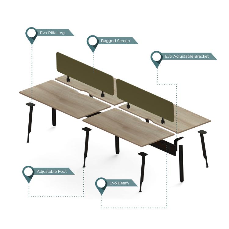 wooden system desks showing components