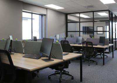 desks in an open office