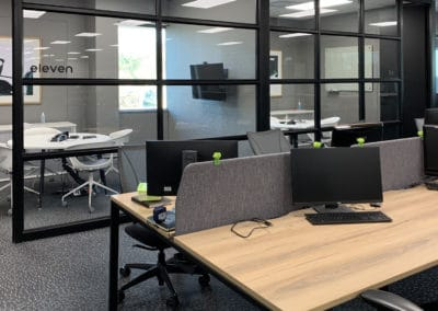 office space with desks and dividers