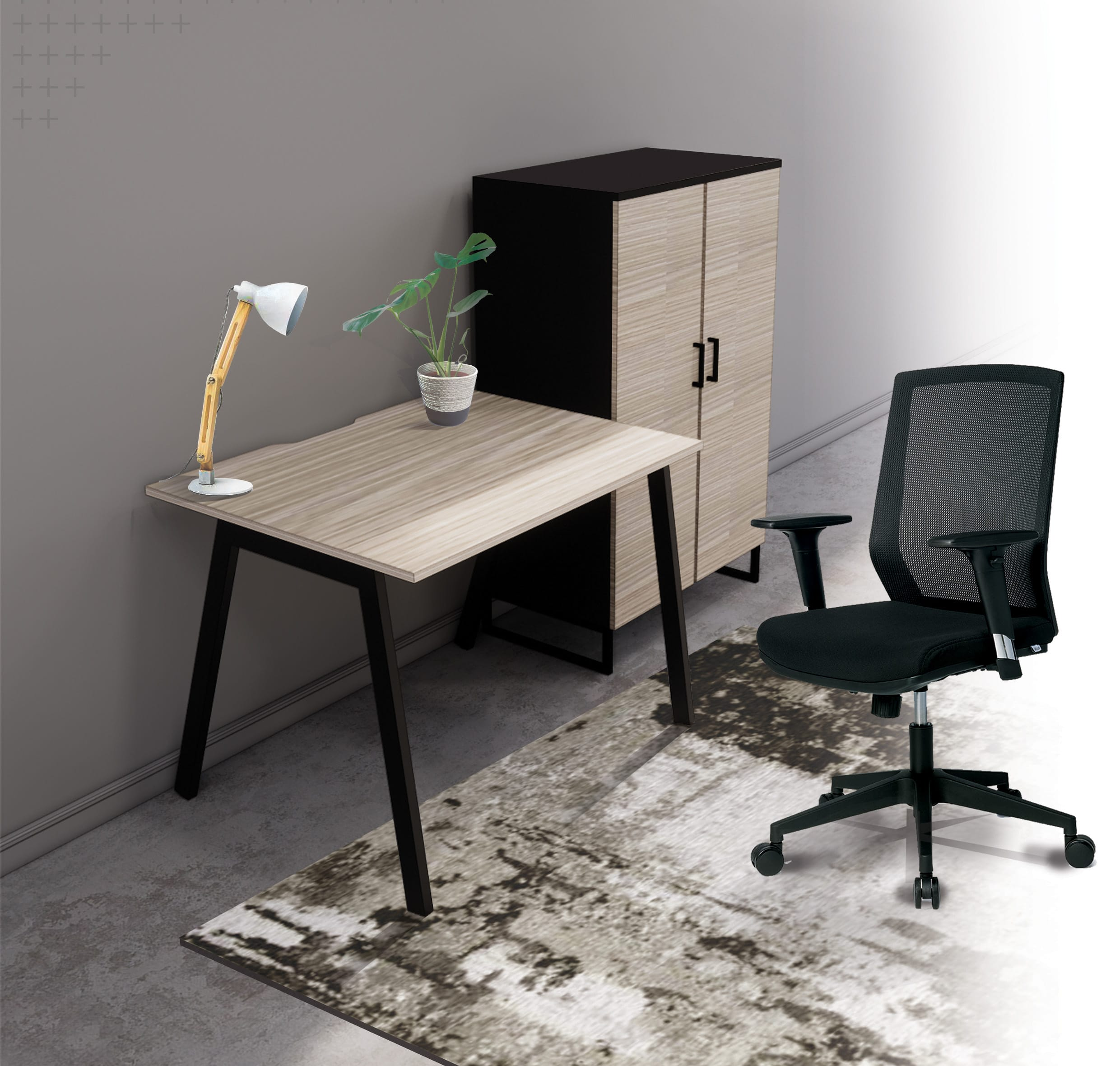 Home office set up with a wooden desk with steel frame, a chair and cupboard with wooden doors