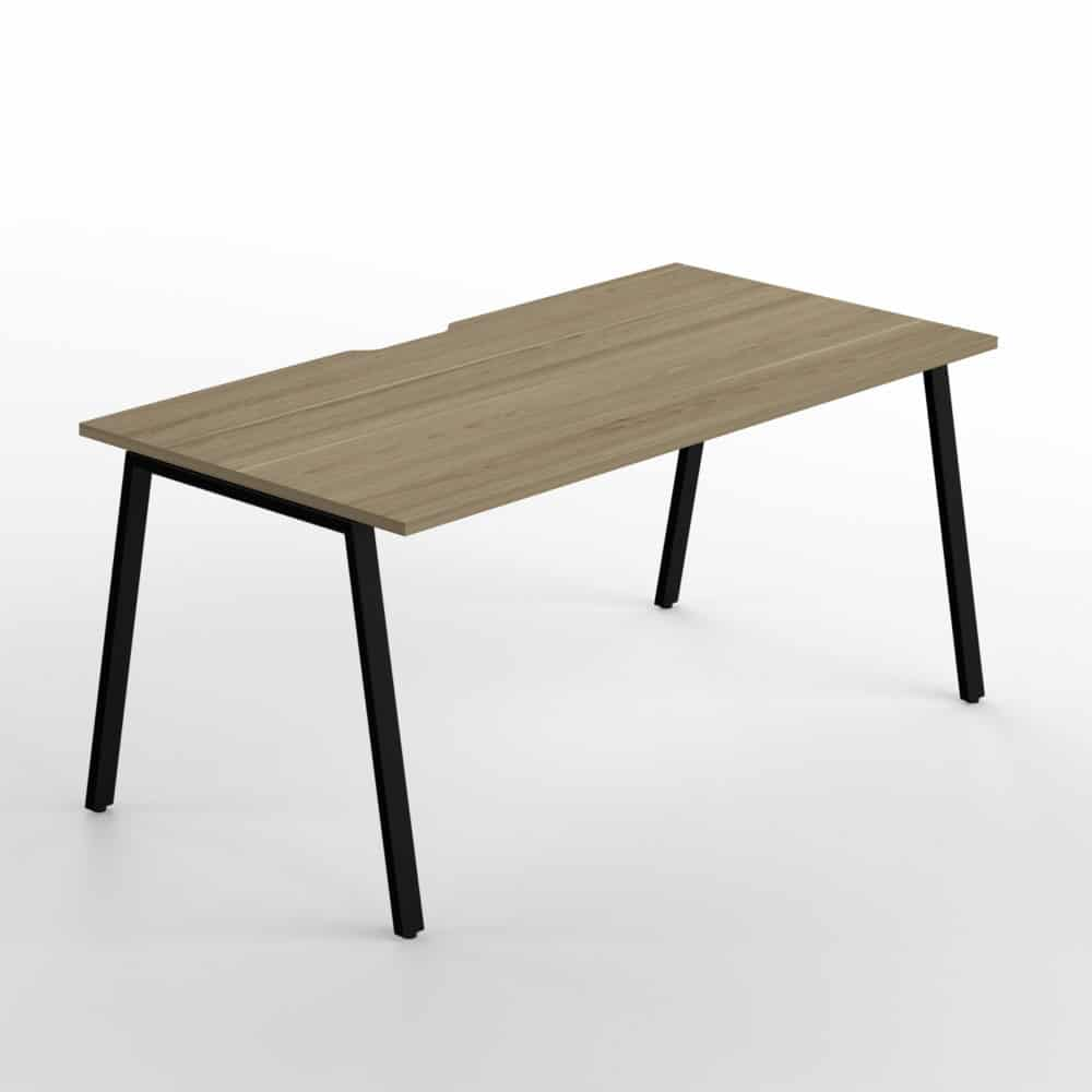 Simply Desk Country Oak Top Black Chassis