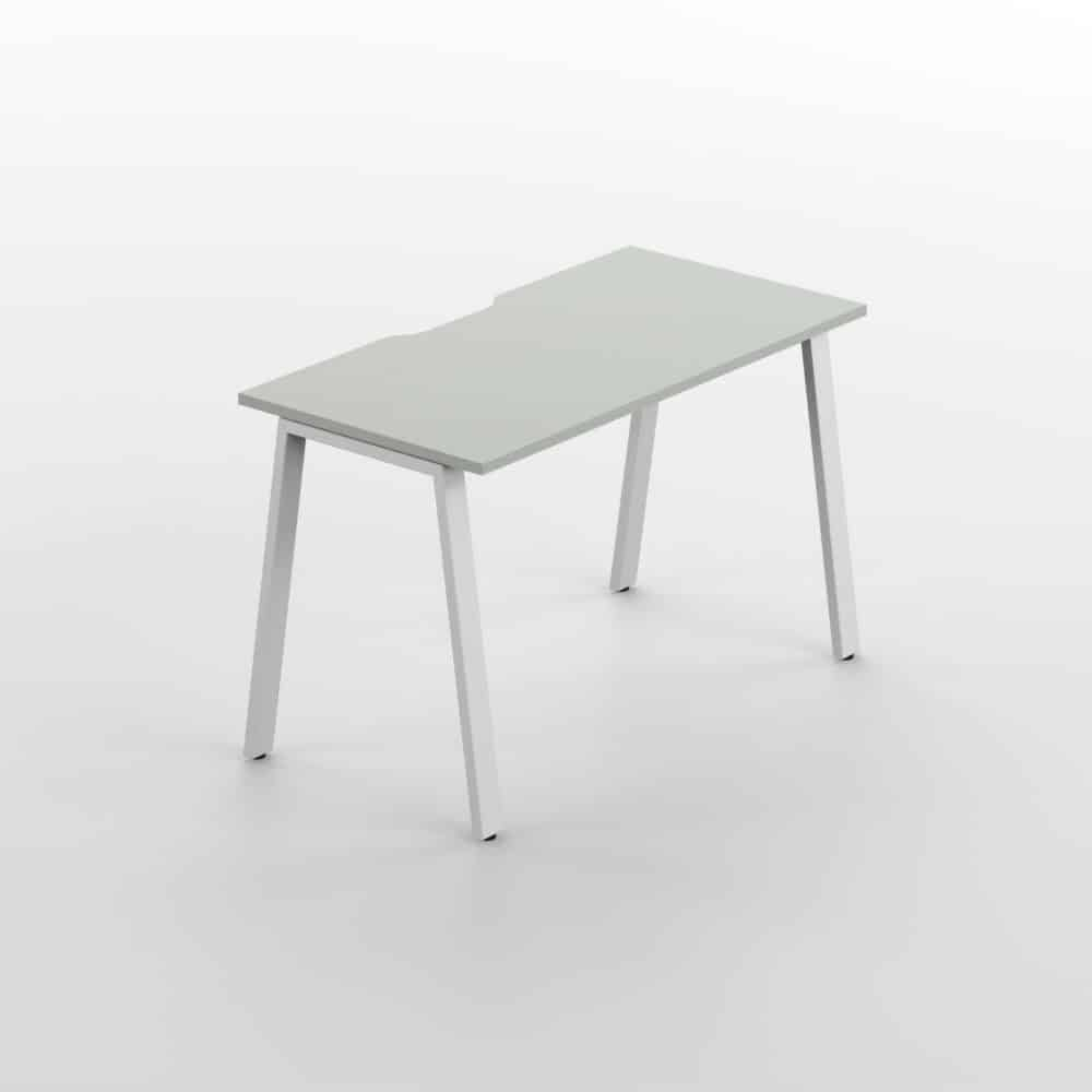 Studio Desk Light Grey Top Whitr Chassis