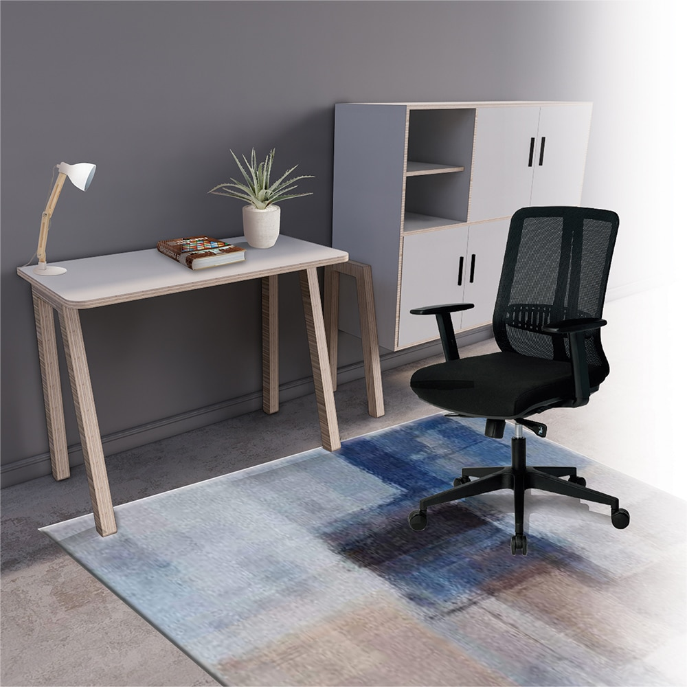 Home office working space with a white cupboard, white table and a chair for Ukhuni