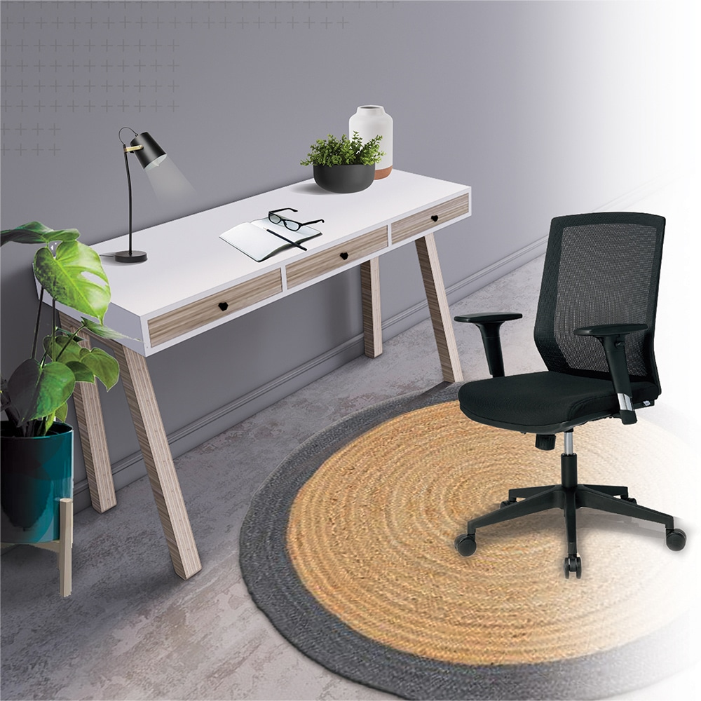 Home office working space with a white table and a chair for Ukhuni