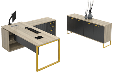 Business furniture for both home and office use with a brown table and a cupboard