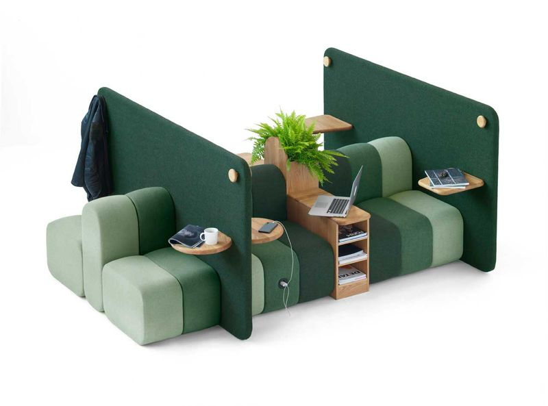 Office chill area with green mobile office furniture