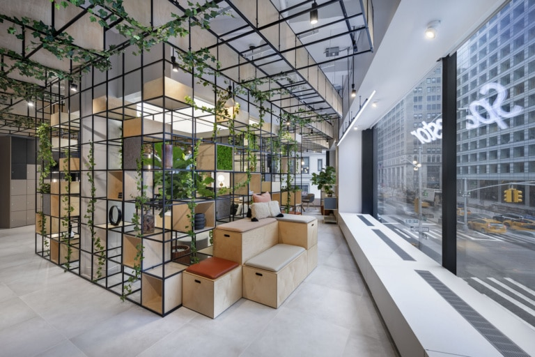 Office space interior design with mobile office chairs and other furniture