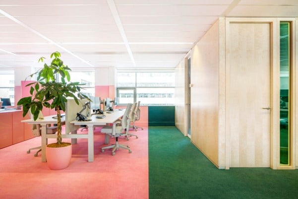 Office workspace with tables and chairs interior design for Ukhuni