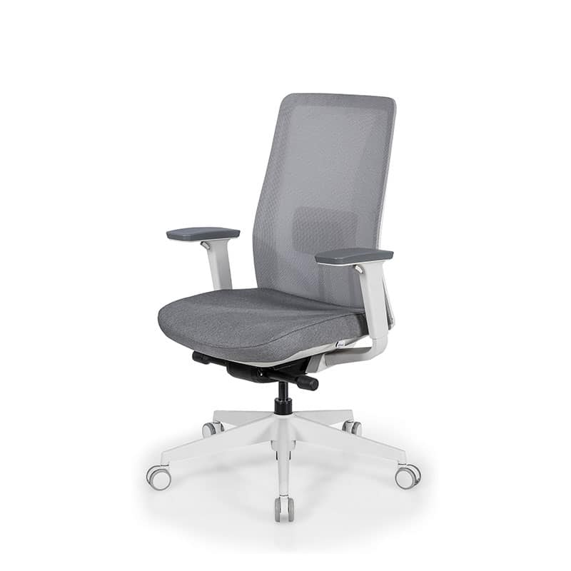 Leather office chair with chrome armrest on wheels