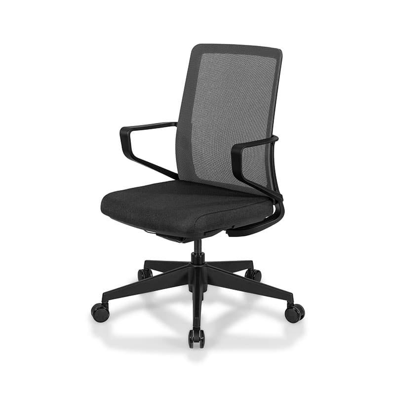 Leather office chair with chrome armrest
